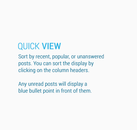 Sort by recent, popular, or unanswered posts.